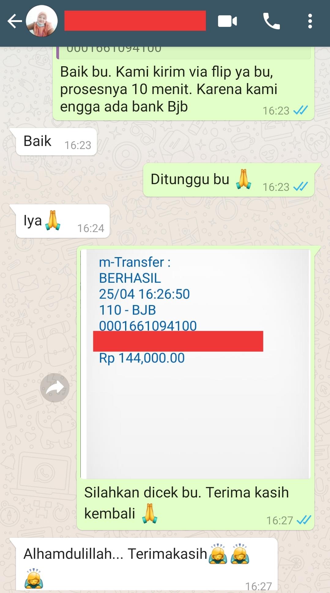 testimonial pengiriman uang ke klien